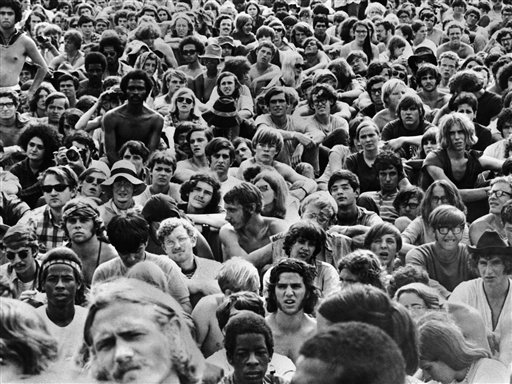These are some of the few hundred thousand persons who attended the gigantic rock festival at Woodstock, N.Y. on Aug. 14, 1969 (AP Photo)