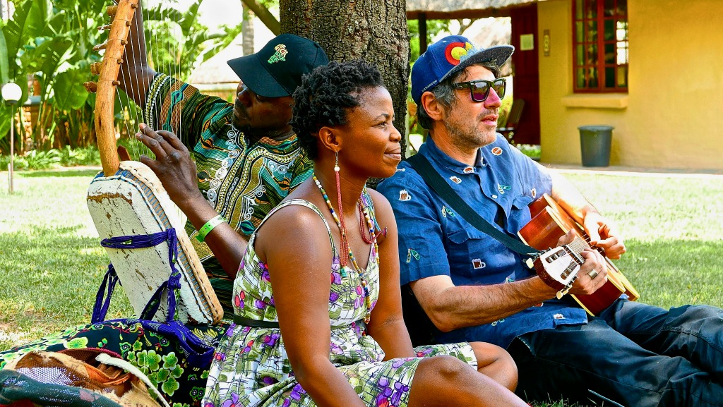 Some of the members of the Africa Express 'Egoli' project (left to right): Otim Zolani, Mahola and Gruff-Rhys (photo by Denholm Hewlett, PR)