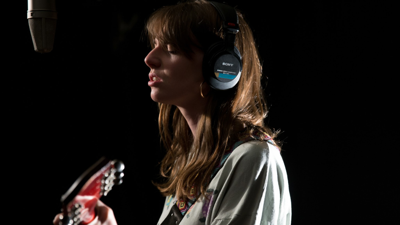 Angie McMahon in Studio A (photo by Nora Doyle/WFUV)
