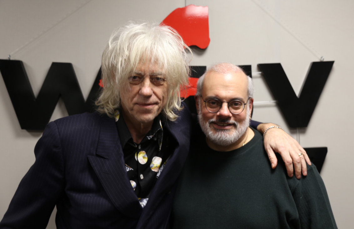 Bob Geldof with Darren DeVivo (photo by Jeremy Rainer/WFUV)