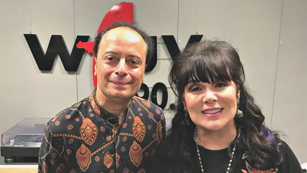 """Cavalcade"" host Paul Cavalconte with Ann Wilson (photo by Jeremy Rainer, WFUV)"