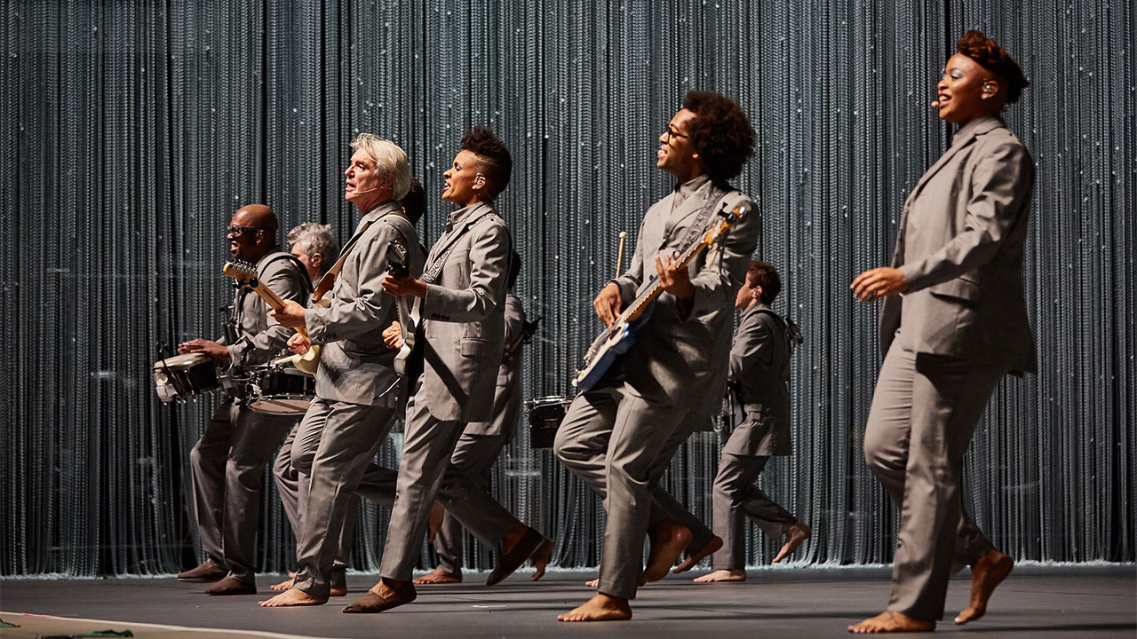 David Byrne and company at Forest Hills Stadium (photo by Gus Philippas/WFUV)