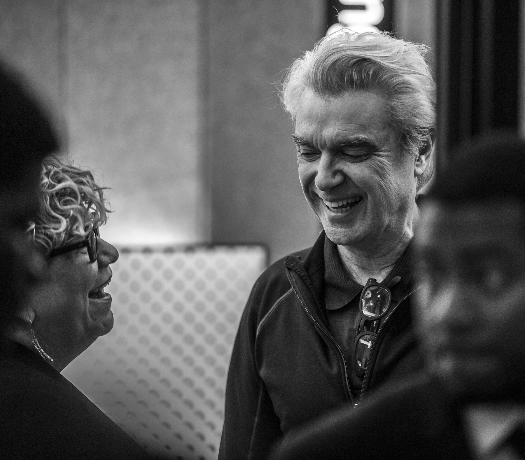 Rita Houston with David Byrne (photo by Wes Orshoski)
