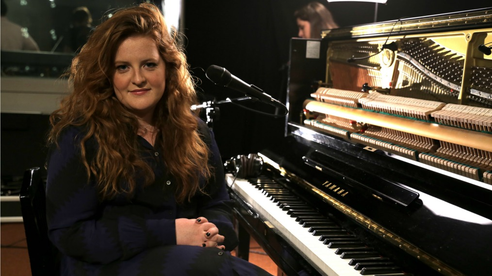 Frances in Studio A (photo by Sabrina Sitton/WFUV)