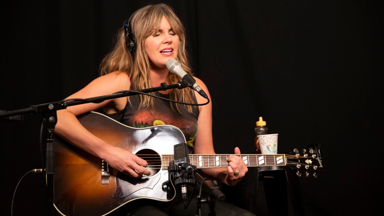 Grace Potter in Studio A (photo by Steven Ruggiero/WFUV)