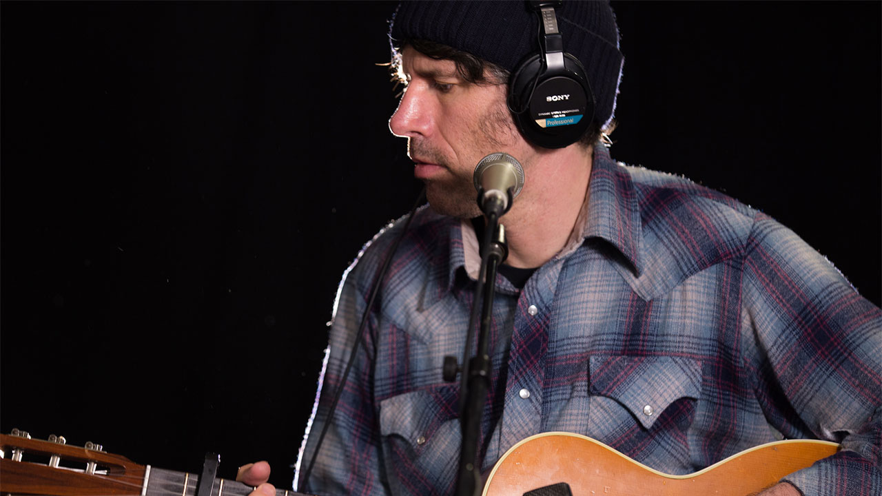 Gruff Rhys in Studio A (photo by Olivia Brewer/WFUV)