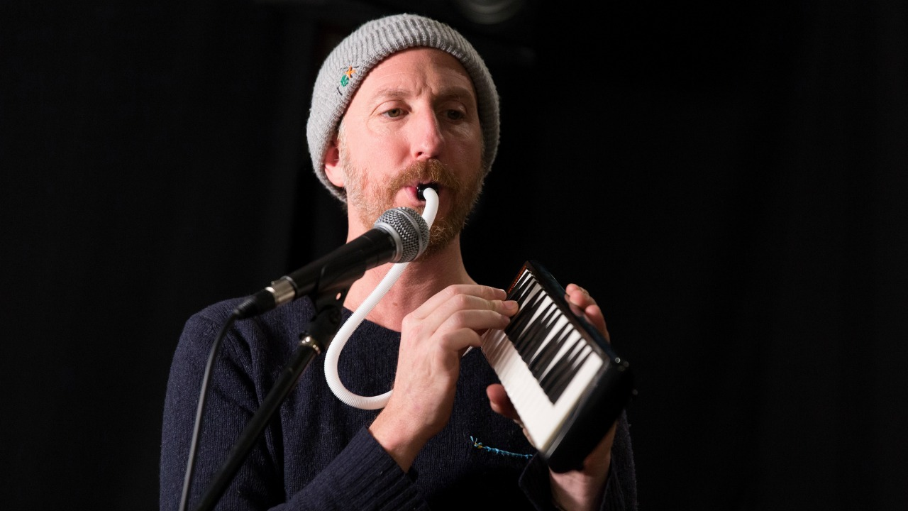 Ryan Miller of Guster in Studio A (photo by Brian Gallagher/WFUV)