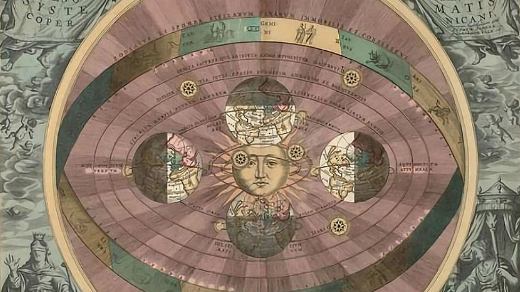 Heliocentric model (courtesy of Wikimedia, public domain)
