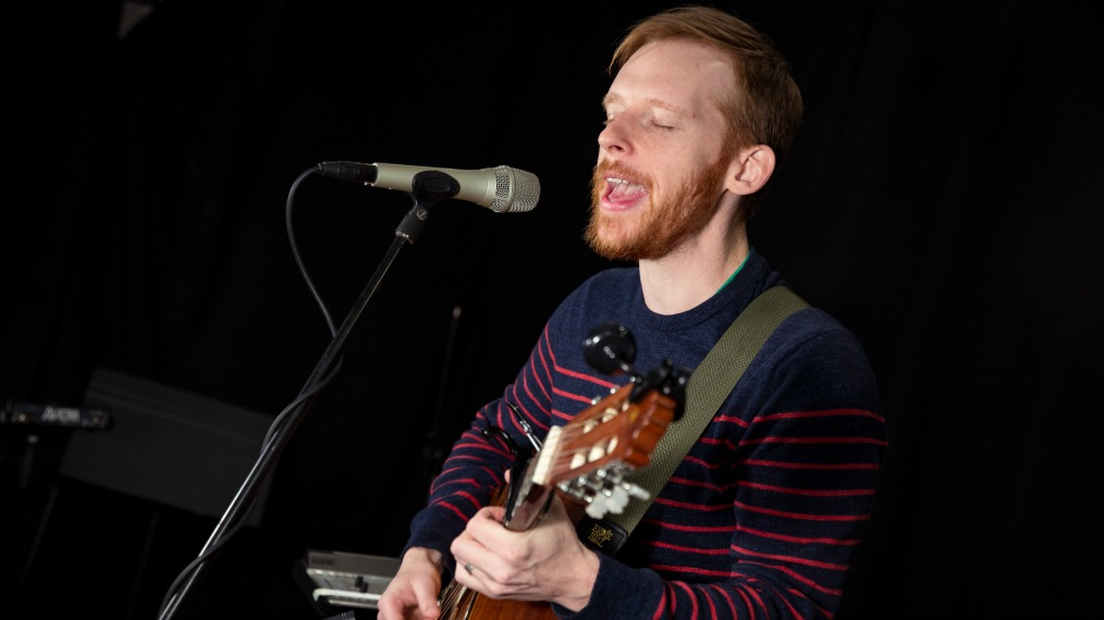 Kevin Devine in Studio A (photo by Sarah Burns/WFUV)