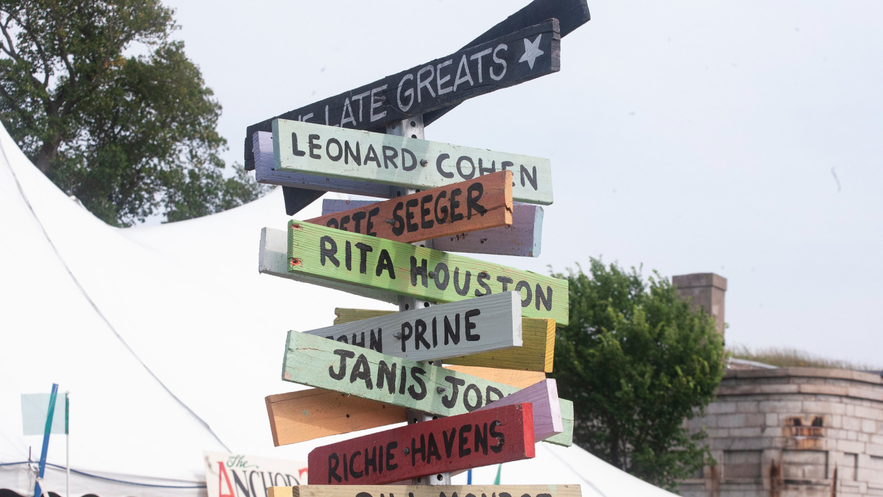 Late Greats signpost at the Newport Folk Festival (photo by Laura Fedele for WFUV)