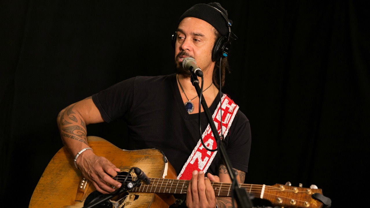 Michael Franti in Studio A (photo by Brian Gallagher/WFUV)
