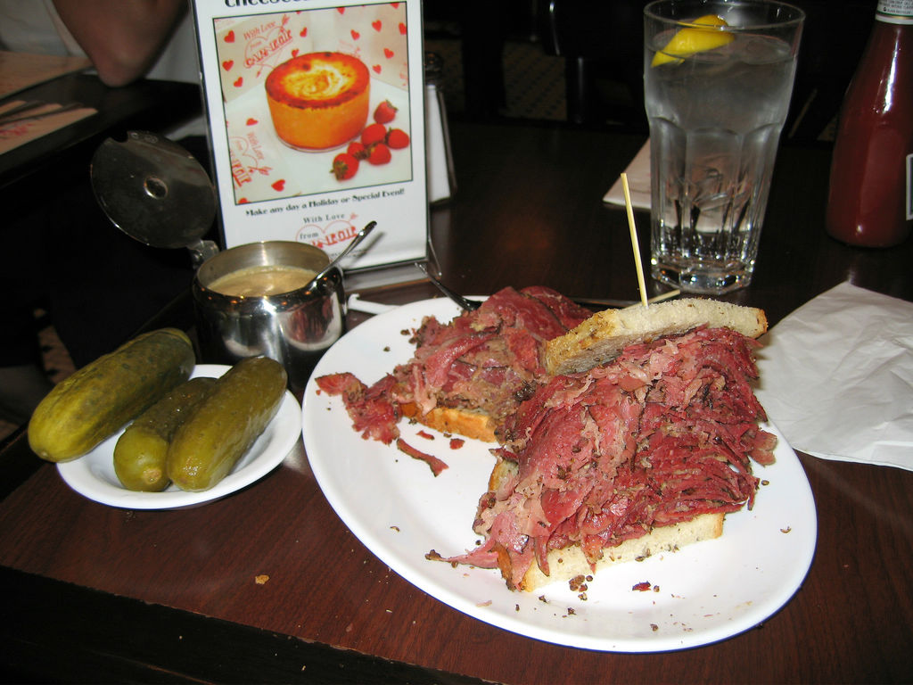 Pastrami sandwich at The Carnegie Deli (photo by Charles Haynes via Wikipedia)