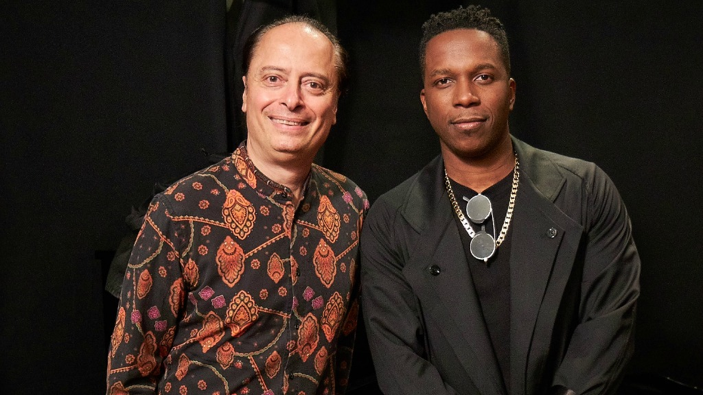 Paul Cavalconte and Leslie Odom Jr. (photo by Gus Philippas, WFUV)