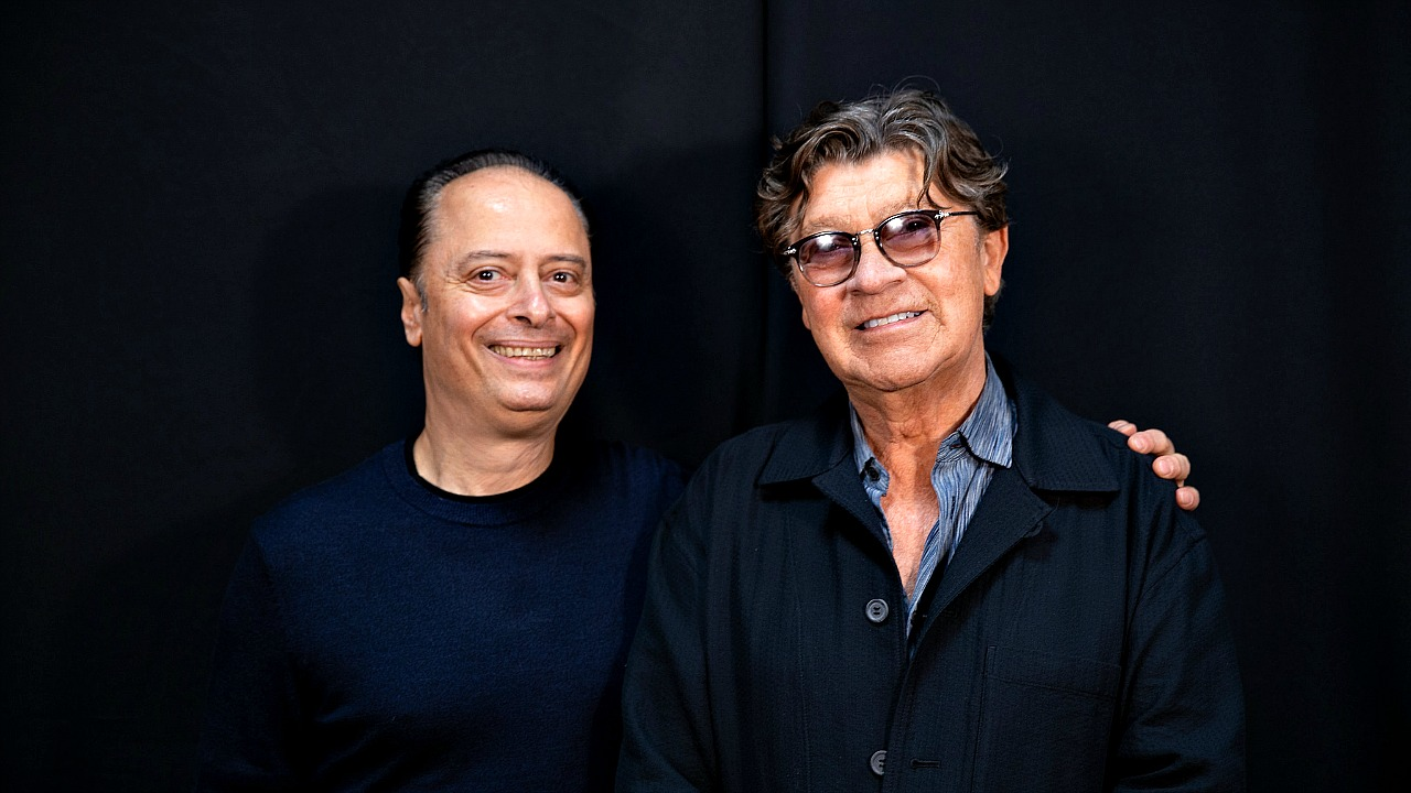 """""""Cavalcade"""" host Paul Cavalconte and Robbie Robertson (photo by Nora Doyle, WFUV)"""