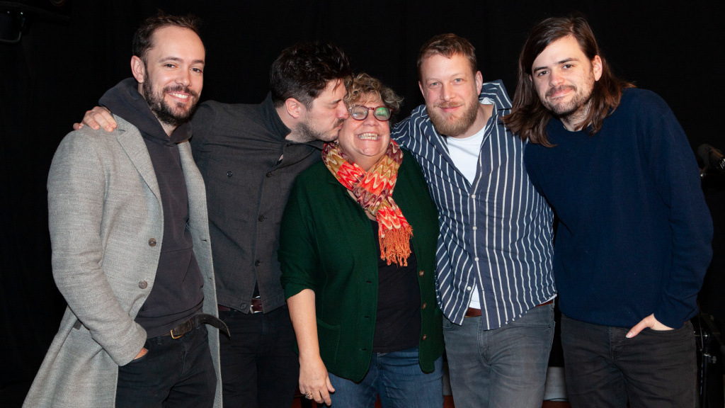 Rita Houston and Mumford and Sons (photo by Gus Phillippas for WFUV)
