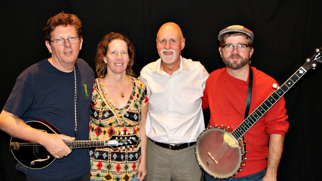 Tim O'Brien and Old Man Ludecke with host John Platt (photo by Jeremy Rainer)