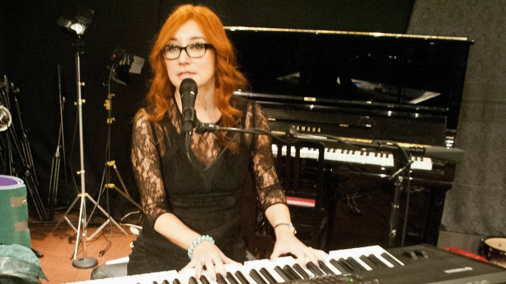 Tori Amos in Studio A (photo by Claire Lorenzo/WFUV)