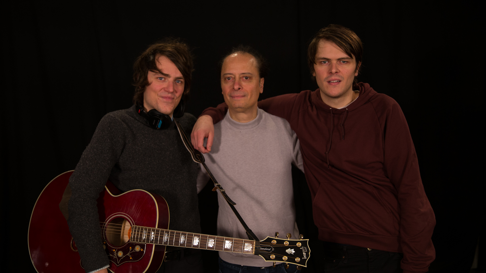 "(L-R) Trapper Schoepp, ""Cavalcade"" host Paul Cavalconte and Tanner Schoepp (photo by Thomas Koenig, WFUV)"