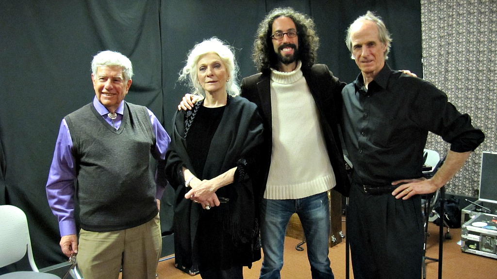 Host Bob Sherman, Judy Collins, producer Jeremy Rainer and pianist Russell Walden