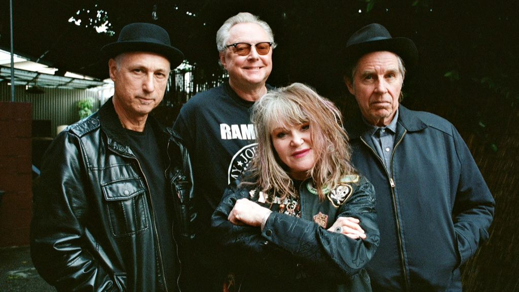 X (left to right: DJ Bonebrake, Billy Zoom, Exene Cervenka, John Doe: photo by Kristy Benjamin, PR)