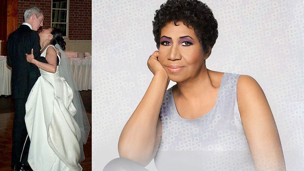 Corny O'Connell and his wife Amy (photo by Rich Shapiro) and Aretha Franklin (courtesy of the artist, Facebook.com)