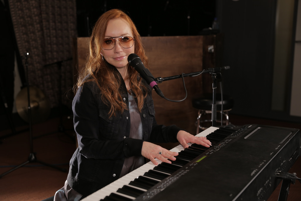 Tori Amos in Studio A (photo by Deirdre Hynes/WFUV)