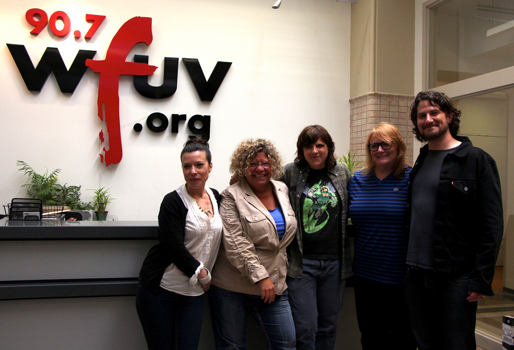 Carmel Holt hosts Indigo Girls in Studio A, tonight at 9 on FUV Live. (Pictured here with Rita Houston & Matt Nathanson).