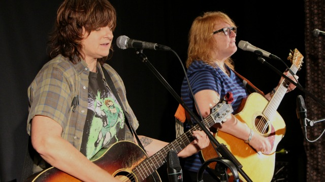 Indigo Girls in Studio A (photo by Daniel Brauer/WFUV)