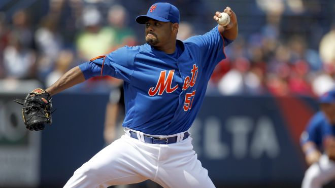 Johan Santana prepares himself for opening day at spring training.