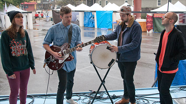 Thumpers break out some sunny harmonies on a damp day, part of Team FUV's coverage from Austin TX.