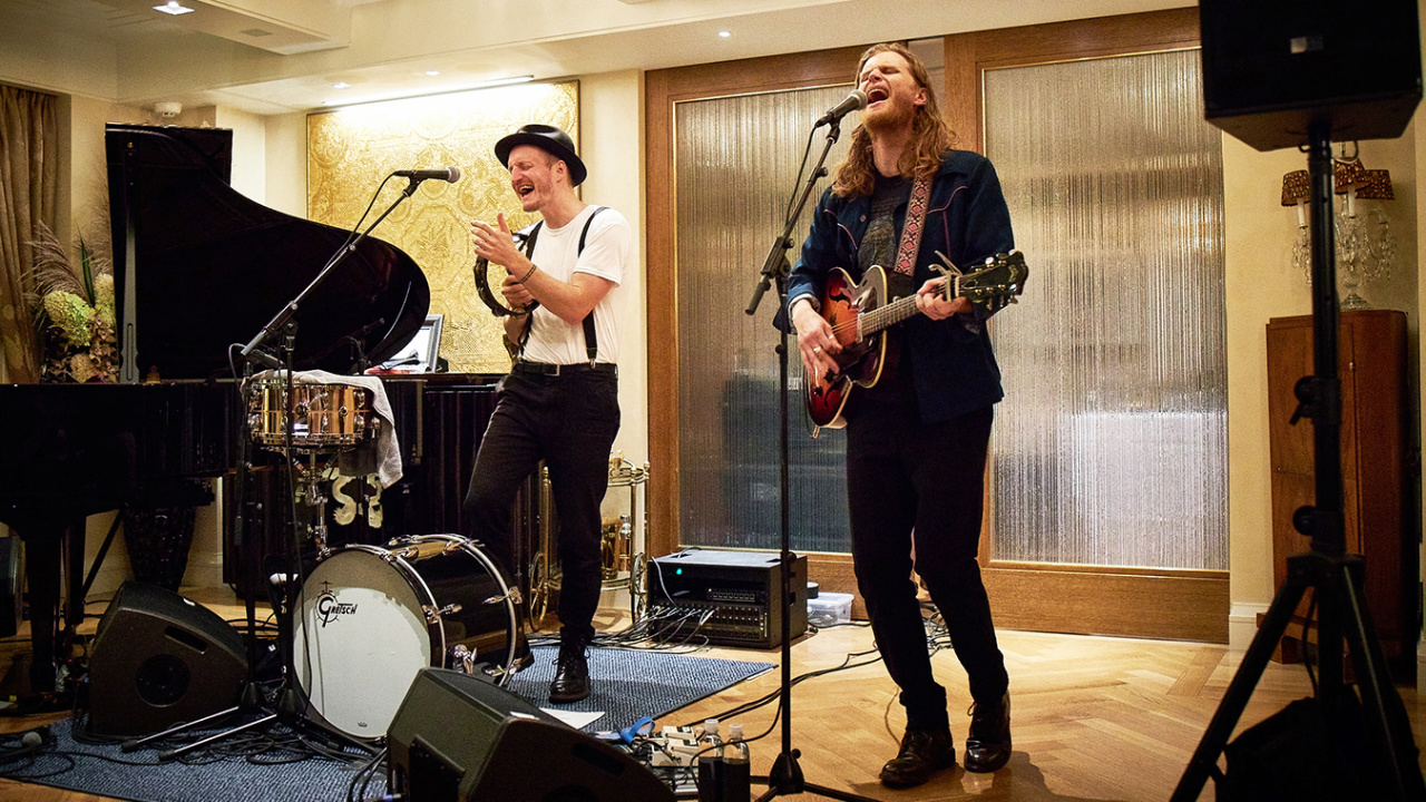 The Lumineers performing at an FUV Live House Concert (photo by Gus Philippas/WFUV)