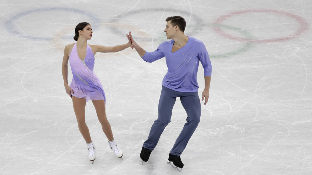 Natalia Zabiiako and Alexander Enbert of the Olmpic Athletes of Russia perform in the pair figure skating short program in the Gangneung Ice Arena at the 2018 Winter Olympics in Gangneung, South Korea, Wednesday, Feb. 14, 2018.