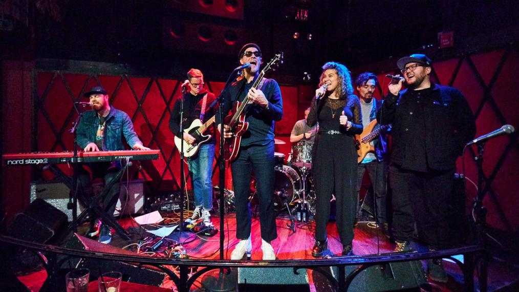 Allen Stone and band at Rockwood Music Hall (photo by Gus Philippas/WFUV)