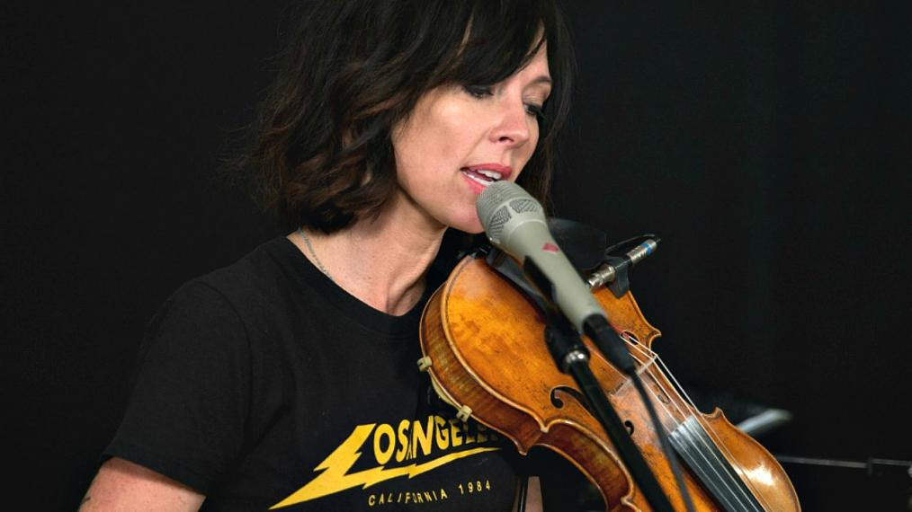 Amanda Shires in Studio A (photo by Alex Brennan/WFUV)