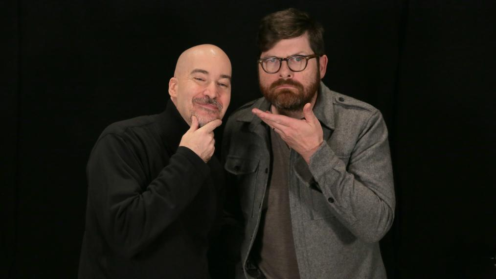 Eric Holland and Colin Meloy in Studio A (photo by Michael Shemenski/WFUV)