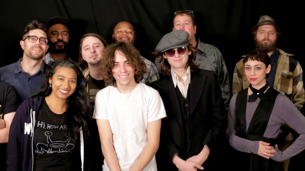 Foxygen with band and host Alisa Ali at WFUV