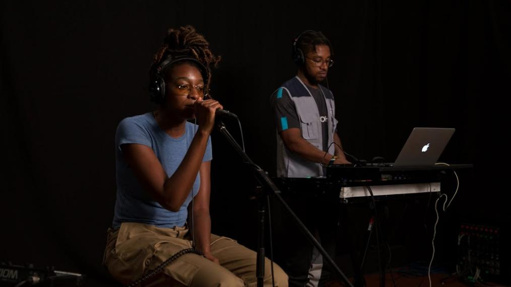 Little Simz and Osiris Wilson in Studio A (photo by Thomas Koenig/WFUV)