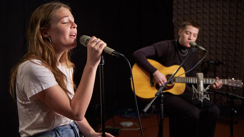 Maggie Rogers and Elle Puckett in Studio A (photo by Gus Philippas/WFUV)