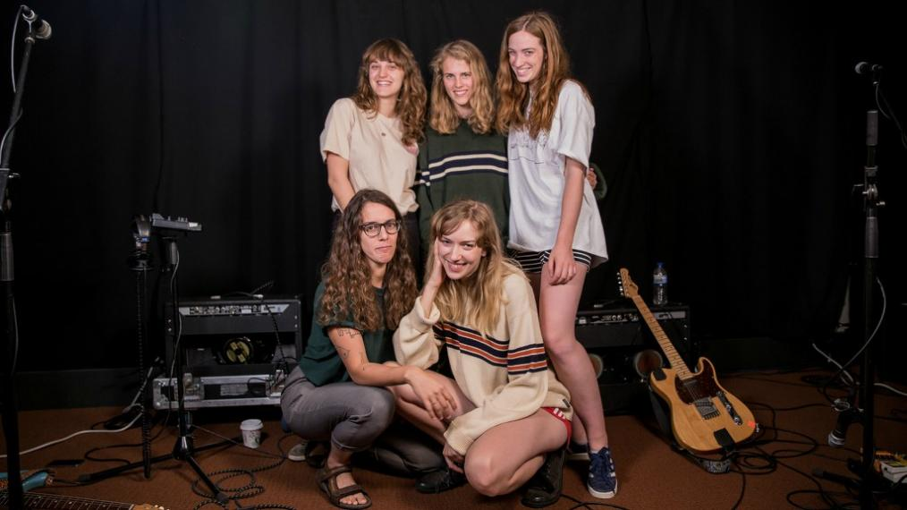 Marika Hackman (top row, center) and The Big Moon at WFUV (photo by Kristen Riffert)