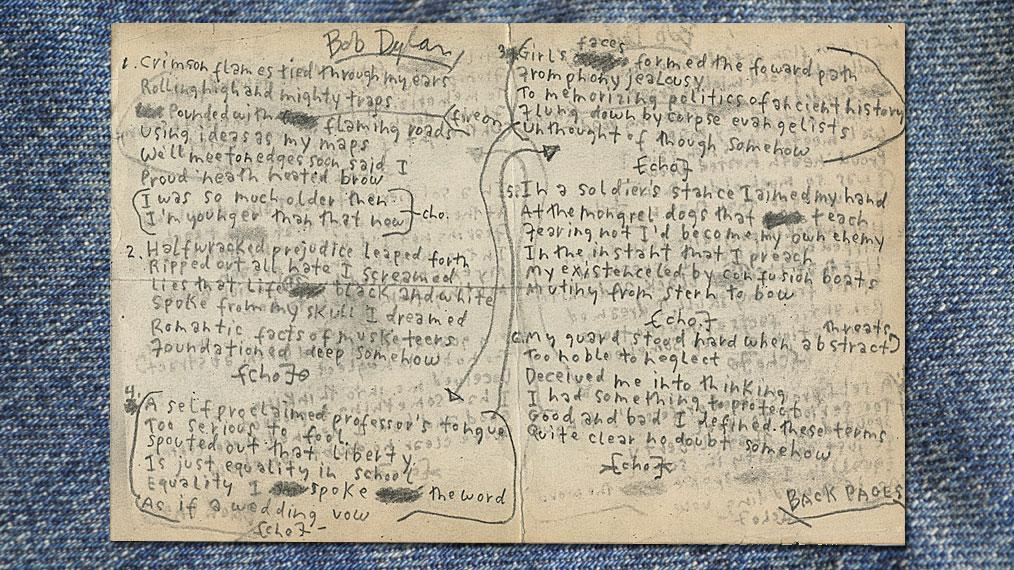 "Bob Dylan's handwritten working lyrics to ""My Back Pages."""