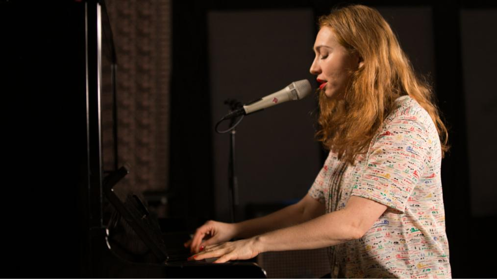 Regina Spektor in Studio A (photo by Thomas Koenig/WFUV)
