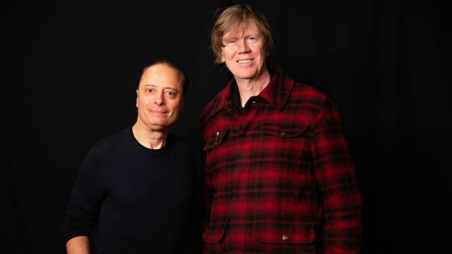 """""""Cavacade"""" host Paul Cavalconte with Thurston Moore (photo by Olivia Brewer, WFUV)"""