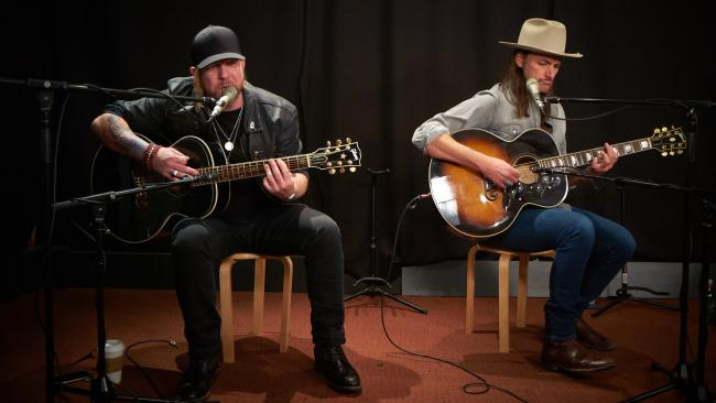 Devon Allman and Duane Betts of the Allman Betts Band in Studio A (photo by Gus Philippas/WFUV)