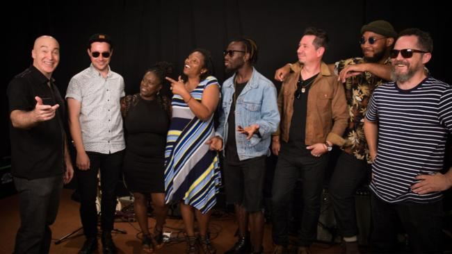 Eric Holland with Black Pumas in Studio A (photo by Steven Ruggiero/WFUV)