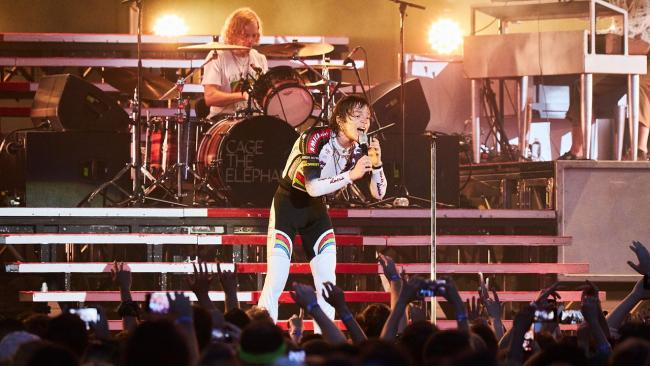 Cage the Elephant's Matt Shultz and drummer Jared Champion (photo by Gus Philippas for WFUV)