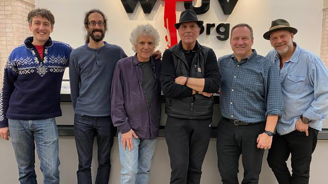 Eric Lee, engineer Jeremy Rainer, Steve Addabbo, Eric Andersen, host Don McGee and Jagoda at WFUV (photo by Carol Rothman)