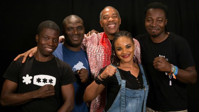 Femi Kuti and members of the Positive Force in Studio A (photo by Dan Tuozzoli/WFUV)