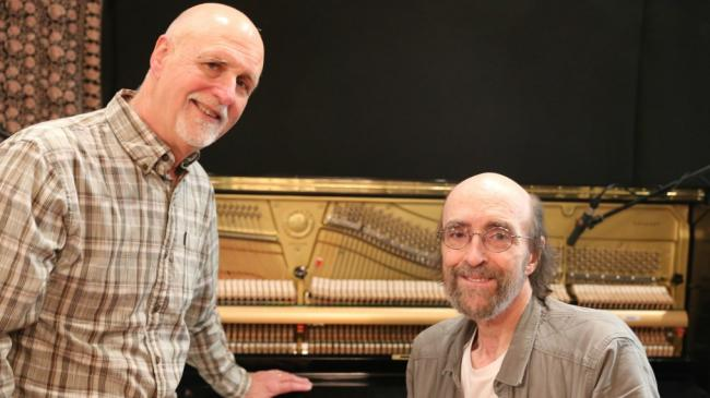 John Platt with George Winston (photo by Jeremy Rainer/WFUV)