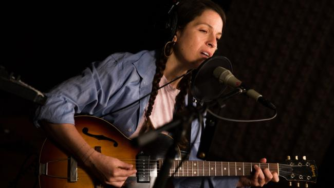 Jesca Hoop in Studio A (photo by Jeffrey Pelayo/WFUV)