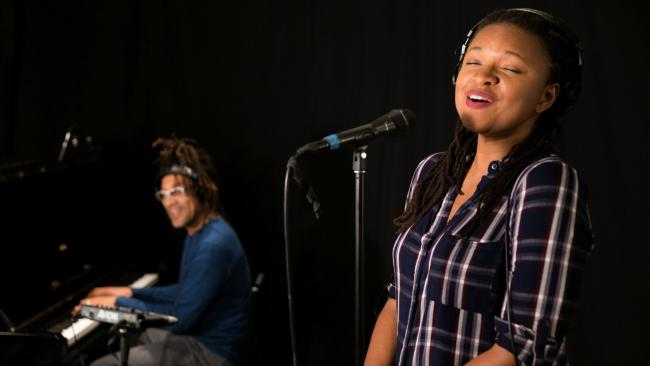 Lizz Wright with Kenny Banks in Studio A (photo by Dan Tuozzoli/WFUV)